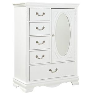 Wardrobe Chest with Oval Glass Mirror