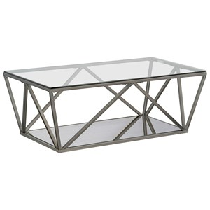 Contemporary Cocktail Table with Geometric Base