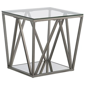 Contemporary End Table with Geometric Base