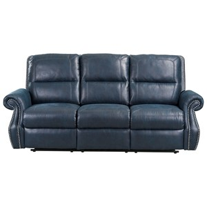 Traditional Reclining Sofa with Nail Head Trim
