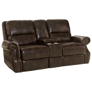 Traditional Reclining Love Seat with Storage Console and Cup Holders