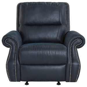 Transitional Reclining Chair with Glider Base and Nail Head Trim