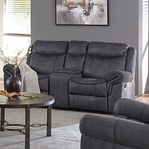 Casual Manual Glider Loveseat with USB Plug and Cup Holders