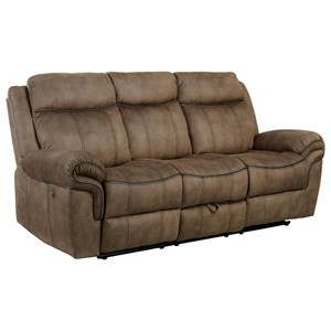 Casual Power Motion Sofa with Storage Console for USB Plug and Cupholders