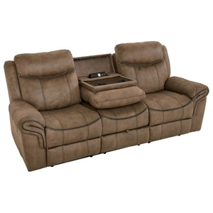 Casual Manual Motion Sofa with Drop Down Console for USB Plug and Cupholders