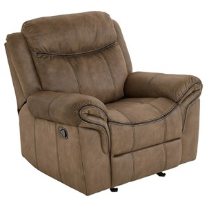 Casual Manual Glider Recliner with No-Gap Chaise Cushion