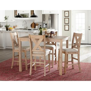Rustic 5-Piece Counter Height Dining Set with X-Back Chairs