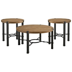 Industrial Occasional Table Group with Metal Base