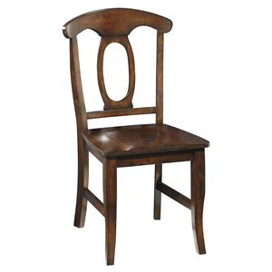 Dining Side Chair with Open Oval Splat Back and Stretcher Support