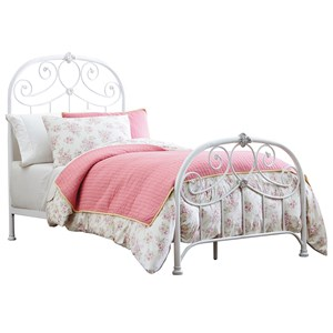 Traditional Full Metal Bed with Scrolled Leaf Detail