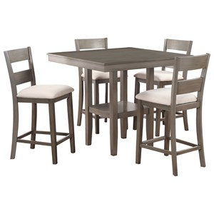 Five Piece Table and Chair Set with Grey Finish