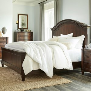 Transitional Queen Panel Bed with Arched Headboard and Slat Design