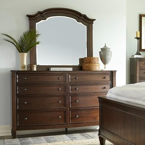 Transitional Dresser and Mirror Combination with 8 Drawers