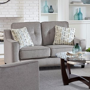 Contemporary Loveseat with Tufted Back and Track Arms