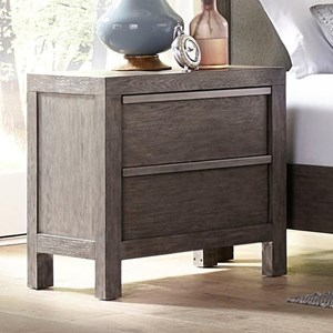 Contemporary Nightstand with 2 Drawers and Charging Station