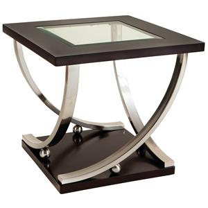 Square End Table with Glass Table Top