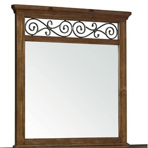 Traditional Mirror with Scrolled Fret Crown Details
