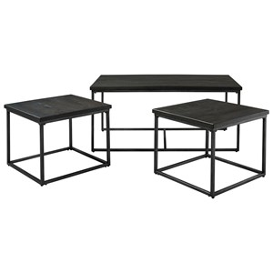 3 Pack of Occasional Tables with Metal Bases