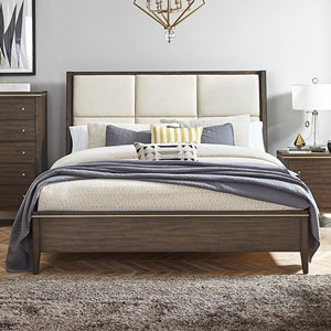 Contemporary Upholstered Queen Sleigh Bed
