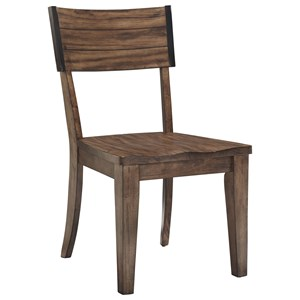 Square Back Dining Side Chair with Wood Seat