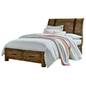 Full Sleigh Storage Bed with 2 Drawers