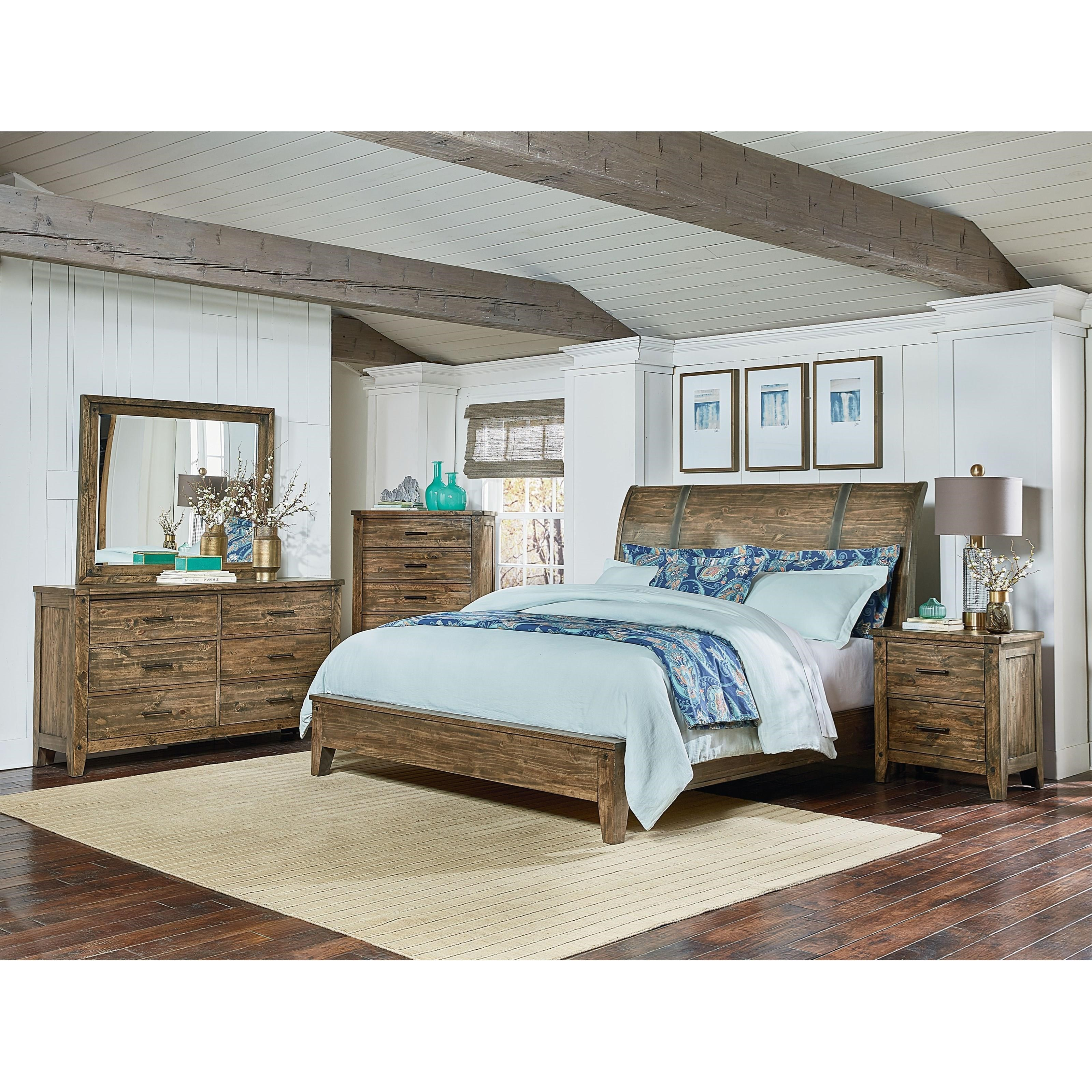 Queen Sleigh Bed, Dresser, Mirror & Nightstand