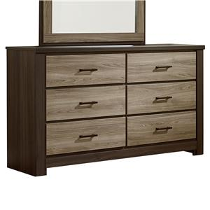 Casual Contemporary Six Drawer Dresser