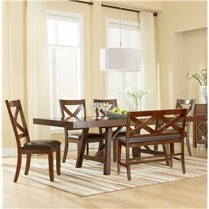 6 Piece Table Set with Bench and Side Chairs