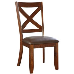 Dining Side Chair with Upholstered Seat and X-Back