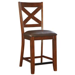 Counter Height Bar Stool with Upholstered Seat and X-Back