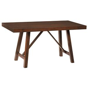 Counter Height Trestle Table with 2 Leaves