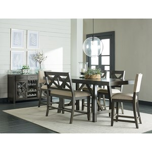 6 Piece, Counter Height Trestle Table Dining Set