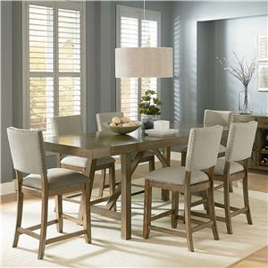 Counter Height 7 Piece Trestle Table Dining Set