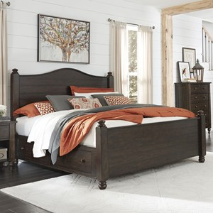 Traditional Queen Storage Poster Bed with Arched Headboard and Plank Detail