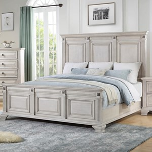 Regal Queen Panel Bed with Medallion Bed Ornaments