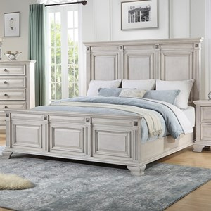 Regal King Panel Bed with Medallion Bed Ornaments