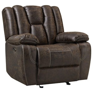 Power Glider Recliner with Deep Channeled Back