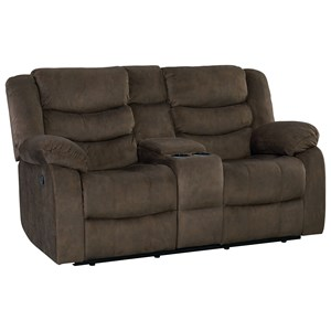 Casual Manual Reclining Love Seat with Cup Holders