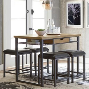 Industrial Counter Height 5 Piece Dining Set