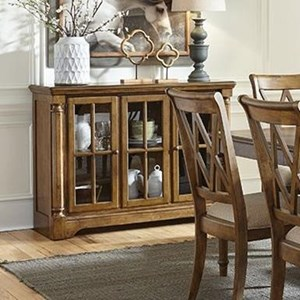 Ornate Dining Sideboard with Pilasters and Glass Doors