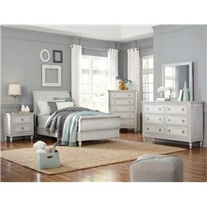 Standard Furniture Sarah Twin Sleigh Bed with Dresser, Mirror, and Ni
