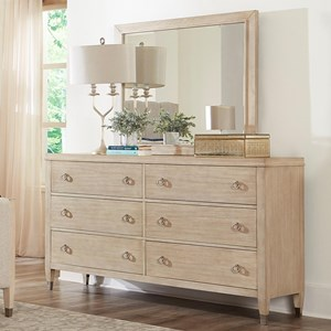 Transitional 6-Drawer Dresser and Mirror Set