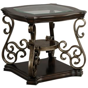 Square End Table with Glass Top