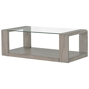 Contemporary Cocktail Table with Glass Top and Open Lower Shelf
