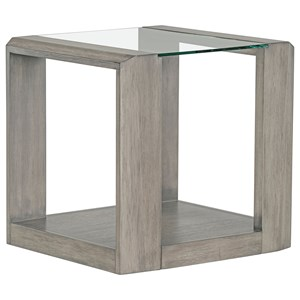 Contemporary End Table with Glass Top and Open Lower Shelf
