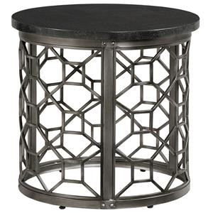 Round End Table with Granite Top