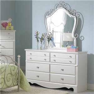6 Drawer Dresser with Metal Mirror Combination