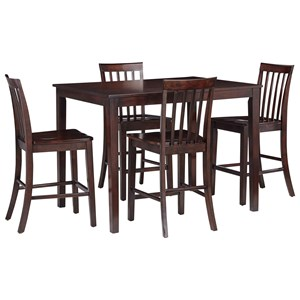 Casual Counter Height Dining Table with Four Chairs