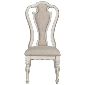 Upholstered Side Chair with Turned Legs