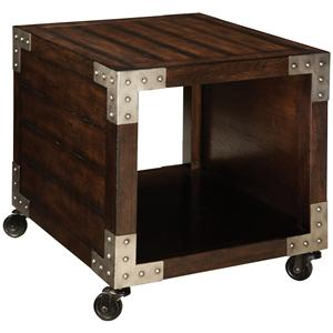 End Table with 1 Compartment and Metal Accents